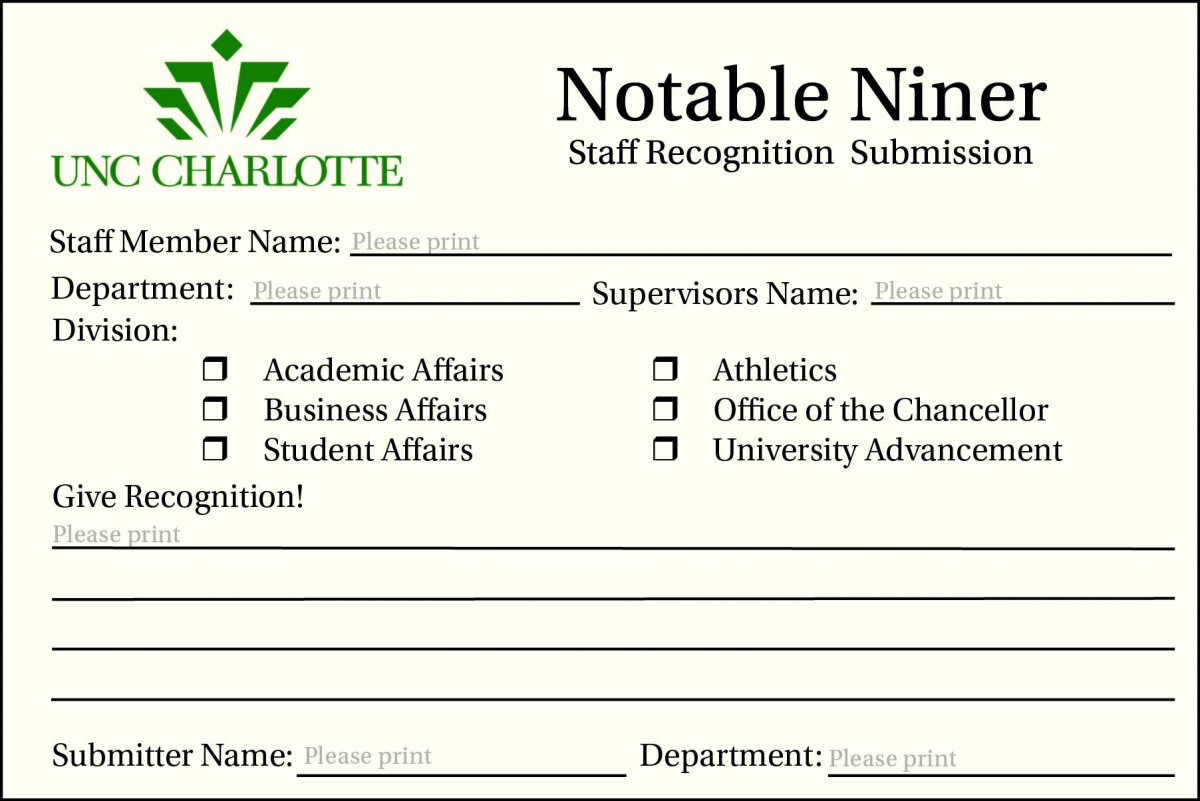 Image of notable niner physical submission card
